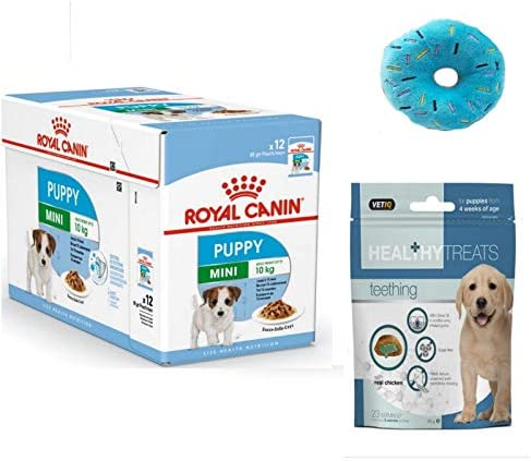 Royal Canin Mini Puppy Wet Dog Food in Gravy Pack 12 x 85g. and Healthy Teething Treats and Donut Plush Squeaky Puppy Toy – Dogs Corner