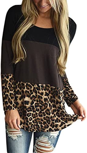 91279bca7e0 HOTAPEI Womens Back Lace Color Block Tunic Tops Casual Long Sleeve T-Shirts  Blouses With