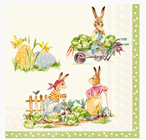 MesaFina Stories of Bunnies Cream Cocktail Beverage Paper Napkins, 40-ct from Mesafina