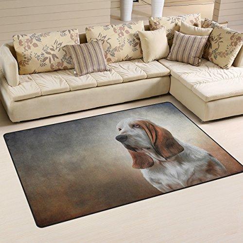 Yochoice Non-slip Area Rugs Home Decor, Vinatge Retro Dog Basset Hound Portrait Art Floor Mat Living Room Bedroom Carpets Doormats 31 x 20 inches (Hound Basset Portrait)