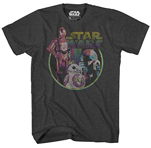 Star Wars Boys' Big Episode Neon Tee, Charcoal Heather Small
