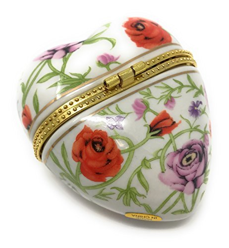 Porcelain Rose Pattern Heart Shaped Hinged Lid Trinket Box with Tiny Trinket Inside, By ArtGifts, 3L