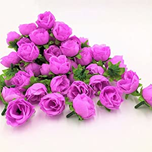 50PCs Mini Rose Flower Head Artificial Flowers Multicolor Craft Ornaments 36mm 3