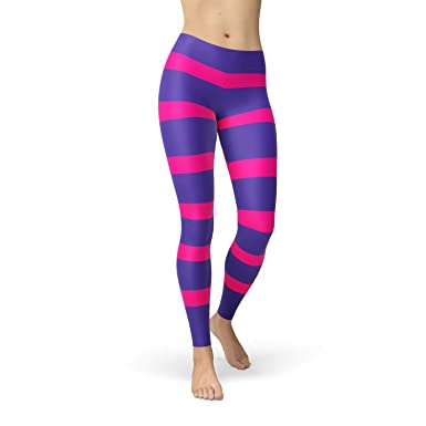 aabf2aeb0 Image Unavailable. Image not available for. Color  Pink Purple Striped  Leggings for Women Inspired Womens Cheshire Cat Yoga Leggings