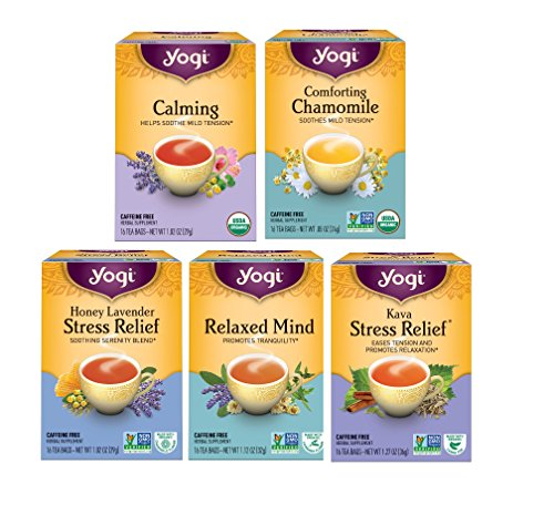 Yogi Tea Relaxation Variety Pack - 5 Different Stress Relieving Herbal Teas by Yogi