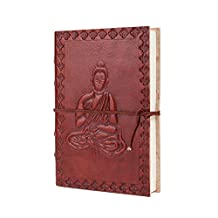 Store Indya Leather Journal Travel Pocket Diary Embossed Buddha Design Planner with Handmade Paper