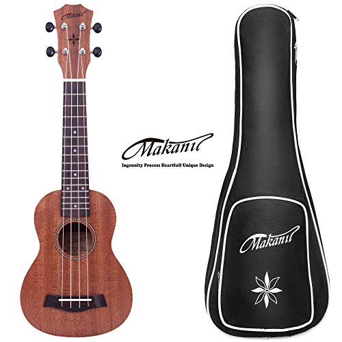 Makanu Soprano Ukulele Sapele 21 Inch Ukulele with Gig Bag for Beginners Matt Finish Four String Guitar by makanu