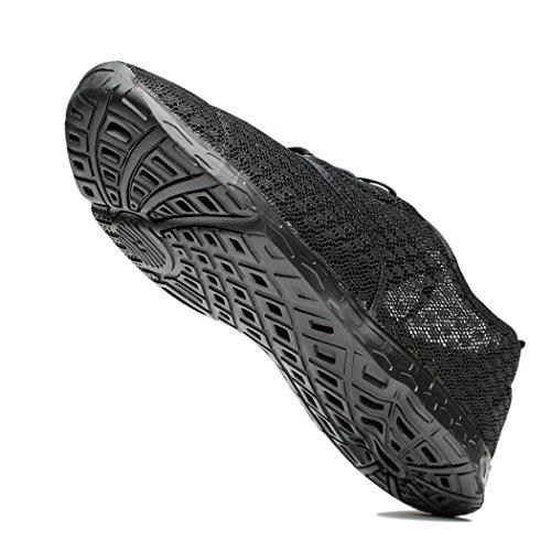 NeedBo Herren Mesh schnell trocknend Aqua Wasser Schuhe atmungsaktiv leichte Wanderschuhe Alles schwarz