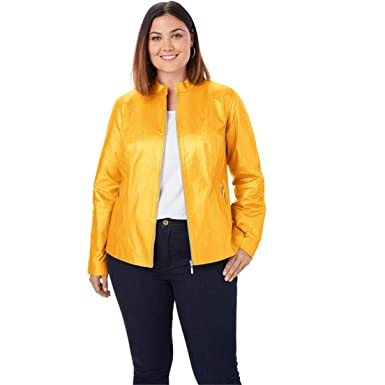 786aee8046a61 Jessica London Women s Plus Size Zip Front Leather Jacket - Metallic Gold