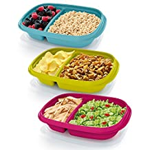 Rubbermaid 3.7 Cup Take Along On-the-Go Sandwich Food Storage Container (3 Pack), Assorted Colors