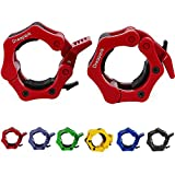 Dreapark for 2PCS/Pair Quick Release 50mm Olympic Barbell Clamp Collar Lock for Pro Crossfit Training (1 Pair, Red)