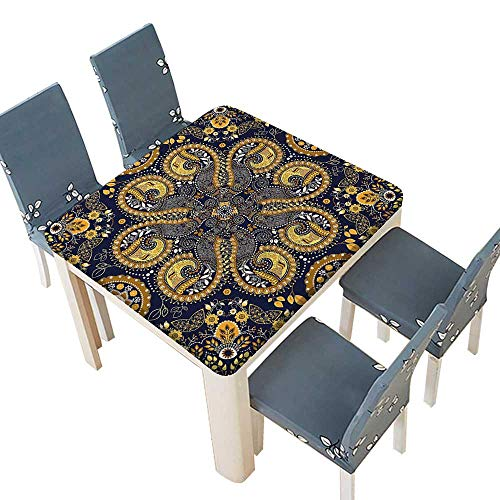 PINAFORE Polyester Cloth Fabric Cover Pattern Indian Style Flower Ornaments Decorative Design Print Mustard Amber Navy Blue Decorative Tablecloths Kitchen Room 72.5 x 72.5 INCH (Elastic Edge) -