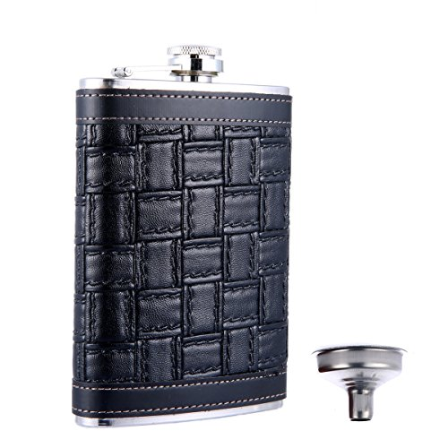 (TOX TANEAXON 9 oz Black Leather Wrapped Cover Stainless Steel Pocket Hip Flask with Free Funnel)