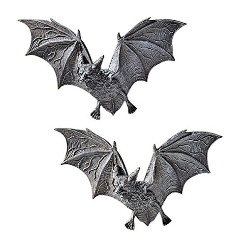 Design Toscano Vampire Bat - The Vampire Bats of Castle Barbarosa Wall Sculptures - Set of 2 - Bat Figure - Halloween Bats ()