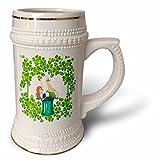 3dRose Uta Naumann Sayings and Typography - Ireland Holiday Girl and Clover Frame - St Patricks Day - 22oz Stein Mug (stn_275292_1)