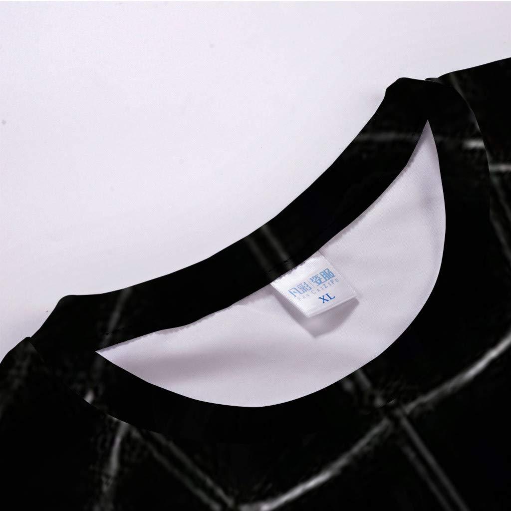 Pervobs Newest Mens Fashion 3D Print Splicing Short Sleeve T-Shirt Crew Neck Basic Causal Tee Shirts Blouse Tops (XL, BlackA) by Pervobs Mens T-Shirts (Image #5)