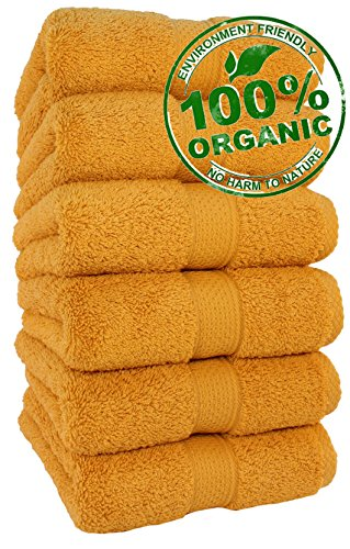 100% Organic Premium Quality, Luxury Hotel & Spa Turkish Towels Super Soft, Plush, Highly Absorbency Quick dry,Antibacterial,Eco-friendly,Long lasting, Everyday use (Hand Towel - Set of 6, Gold)