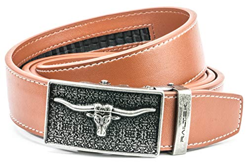 Ratchet Click Belts for Men | Mens Comfort Genuine Leather Belt with Automatic Buckle & Gift Box - Longhorn Bull Buckle - TAN Genuine Leather