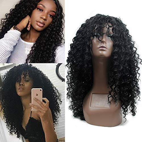 Deep Curly Wigs for Black Women Long Afro Curly Wig With Bangs,High Density Natural Black Color Layered Synthetic Full Wigs ()