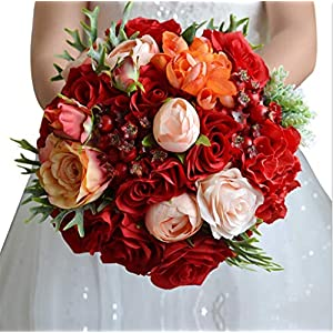 Flonding Wedding Bouquets Bride Bridal Artificial Roses Peony Lily Brooch Bouquet Romantic Bridesmaid Holding Flowers for Valentine's Day Confession Party Church 12