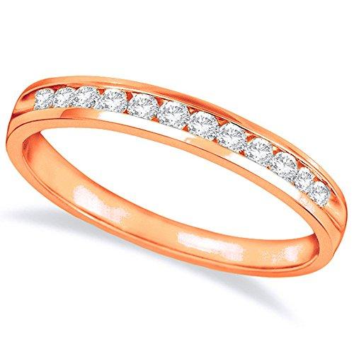 3/4 Carat (ctw) 14K Rose Gold Round Diamond Ladies Channel Set Half-Way Semi-Eternity Wedding Anniversary Stackable Ring Band Ultra Premium Collection ()