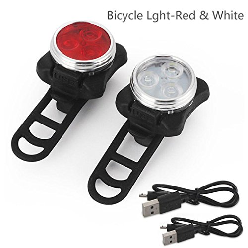 Ecosin 3 LED Red White Fashion Bicycle Lights USB Rechargeable Tail Clip Bike Light LED Light Lamp Flashlight Bike (Black)