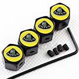 CHAMPLED NEW (4PC) LOTUS LOGO METAL BLACK WHEEL TIRE AIR VALVE STEM CAPS DUST COVER