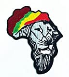 Rasta Lion of Judah Rastafari Ethiopian Reggae Jamaica Flagjacket Shirt T-shirt Patch Sew Iron on Logo Embroidered Badge Sign Emblem Costume By Botan