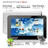 Prontotec 7 Inch HD 1024×600 Capacitive Touch Screen Tablet PC DDR 512MB, ROM 8GB,Dual Core Android 4.2.2, Dual Camera, HDMI, Standard USB Port,Wi-fi, G-sensor (White), Best Gadgets