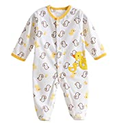 Baby Footie Romper Newborn Pajamas Sleep & Play Outfit Jumpsuit Fleece Bodysuit Snug Fit Sleepwear Snap Up Winter Layette Coveralls Yellow Duck 0-3Months/59cm