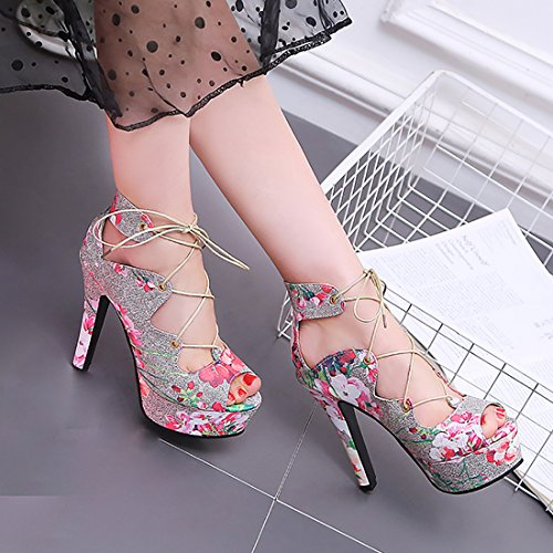 UH et Lacet Elegantes de Sandales avec Floral Rose Plateforme Bout Talons Haut Femmes à Aiguilles Ouvert 77Sqrfw