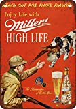 "7"" x 10"" METAL SIGN - 1958 Miller Beer and Pheasant Hunting - Vintage Look Reproduction"