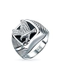 Mens Black Patriotic USA Flying American Bald Eagle Square Signet Ring for Men Silver Tone Stainless Steel