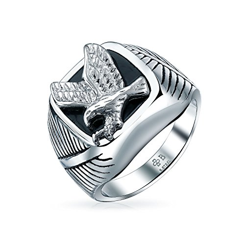 Mens Black Patriotic USA Flying American Bald Eagle Square Signet Ring for Men Silver Tone Stainless Steel ()