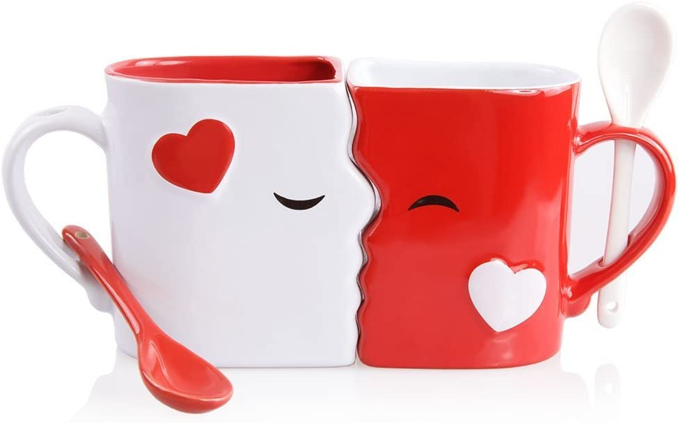 Interestingly, a kissing mug set accompanied with matching spoons has been a favorite gift idea on special anniversaries recently. Gifting him this mug set is supposedly a sweet way to express how much you love him. Send him a romantic kiss by placing two couple mugs together one on one, he'll be excitingly surprised with it.