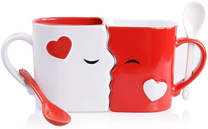 Kissing Mugs Set, Exquisitely Crafted Two Large Cups