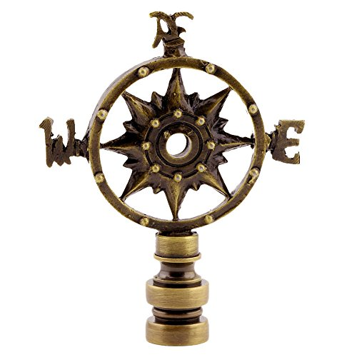 Antique Brass Compass Lamp Shade Finial