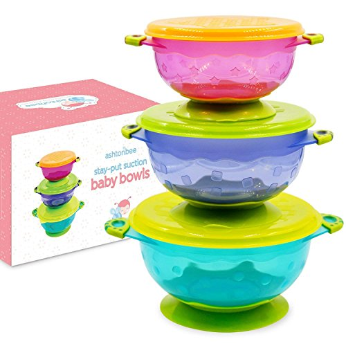 Baby Bowls with Suction - Suction Bowl for Toddlers, Set of 3 Stackable Feeding Bowls with Lids