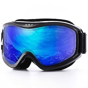 JULI OTG Ski Goggles-Over Glasses Ski / Snowboard Goggles for Men, Women & Youth - 100% UV Protection Anti-fog Dual Lens(Black Frame+14%VLT REVO Blue Len)