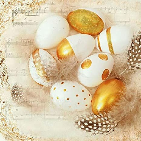 3-ply 4 Individual Napkins for Craft /& Napkin Art Golden Eggs 33 x 33cm 4 Paper Napkins for Decoupage