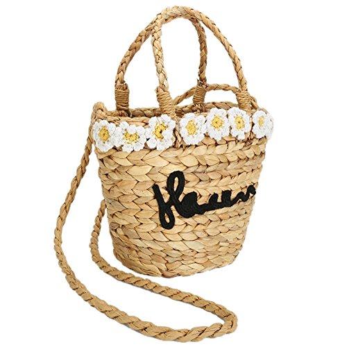 tejida a con de la Manera Flor hombro de paja de mano bolsos hecha mano Biback Bolso wCqI1Sw