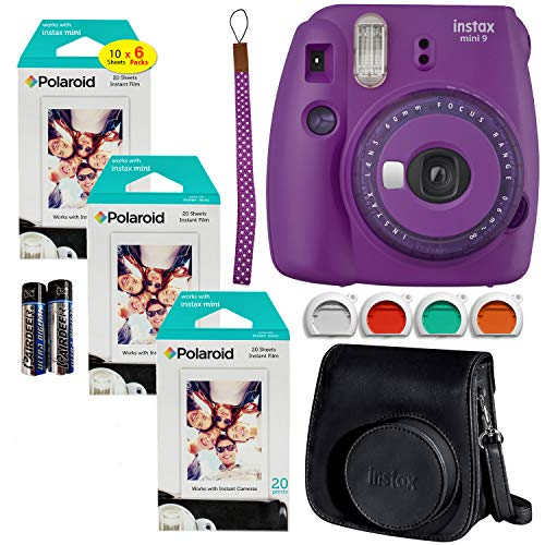 Fujifilm Instax Mini 9 Instant Camera (Purple with Clear Accents), 3X Twin Pack Instant Film (60 Sheets), and Black Instax Groovy Case Bundle