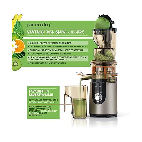 Arendo - Estrattore - Slow Juicer - Capacità totale 1L - Rapida produzione di succo con elevata resa - Accessori lavabili in lavastoviglie - Blocco di sicurezza integrato - BPA free - Certificato GS - 2021 -