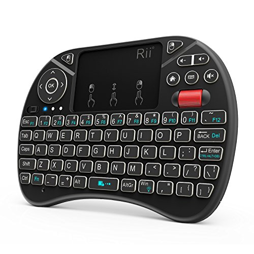 (New arrival 2018) Rii i8X 2.4GHz Mini Wireless Keyboard with Touchpad Mouse Combo, LED Backlit,Rechargeable Li-ion Battery-Black (Rf Keyboard Wireless Mini Usb)