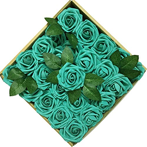 Flower Arrangements Green (Jing-Rise 50PCS Fake Roses Real Looking Artificial Flowers For DIY Wedding Bouquets Centerpieces Baby Shower Party Home Office Shop Hotel Supermarket Decorations (Teal Green))