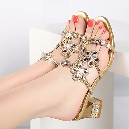 QPSSP Tacones Sandalias Zapatos Tacones De Cristal Sandalias Golden Altos Zapatillas RqArRw