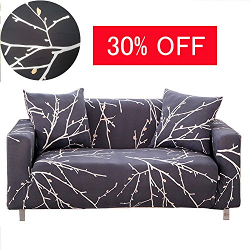 ENZER Stretch Sofa Slipcover Flower Bird Pattern Chari Loveseat Couch Cover Elastic Fabric Kids Pets Protector (2 Seater, Tree Branch) (2 Birds Love)