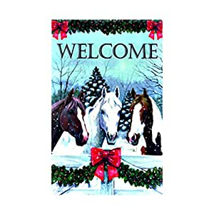 Horses In The Snow Christmas House Flag Welcome Garland Carson decorative flags initial flags party flags 28 x 40 Inch Double Sided banner home flags Print flags