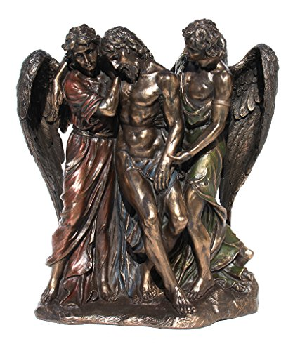 2 Angel Statues - Jesus Christ Supported by Two Angels Statue Figurine Cold Cast Bronze 9.5 Inch Tall