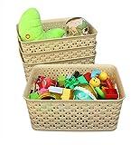 Weaving Plastic Storage Baskets/Bins Organizer with Handles,Set of 4,Tan/Khaki,Honla